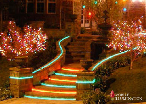 available in led and incandescent lighting styles rope lights are highly durable and can be used to light staircases and railings and even create messages