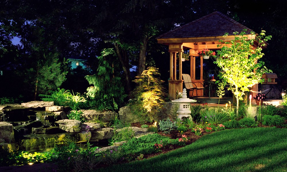 Landscape Lighting Installation - Backyard Pond