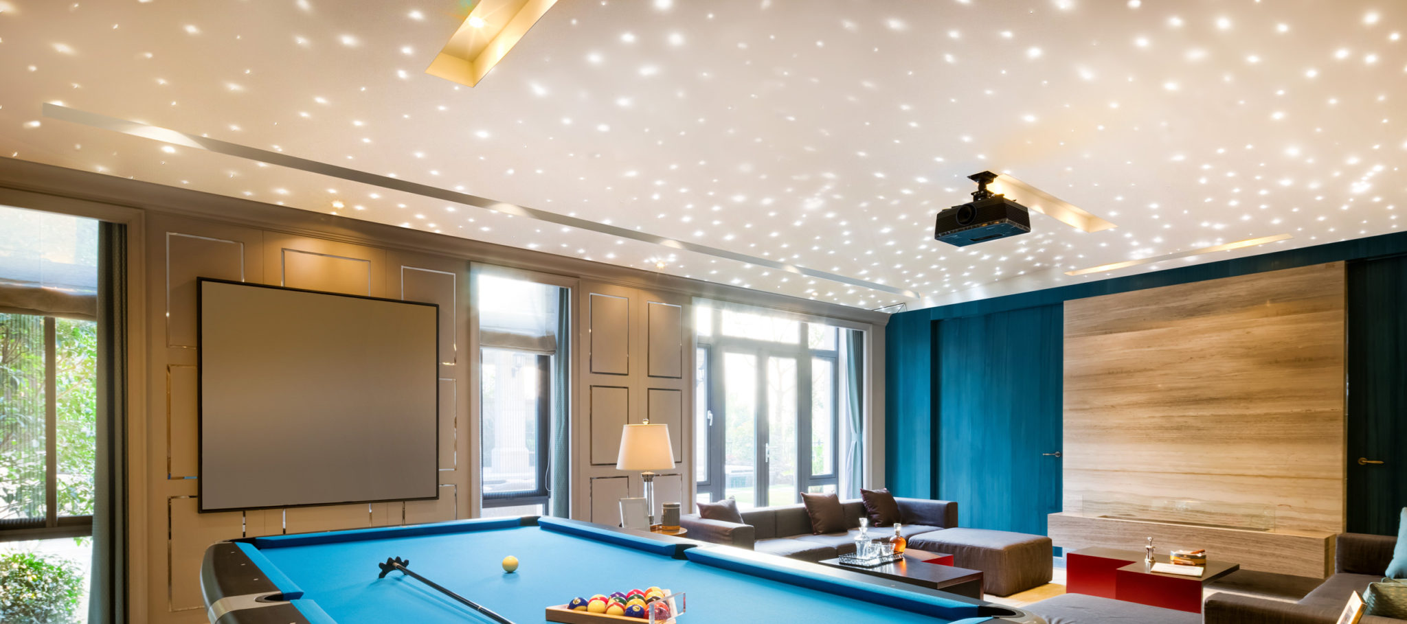 Fiber Optic Starfield Ceiling - Game Room